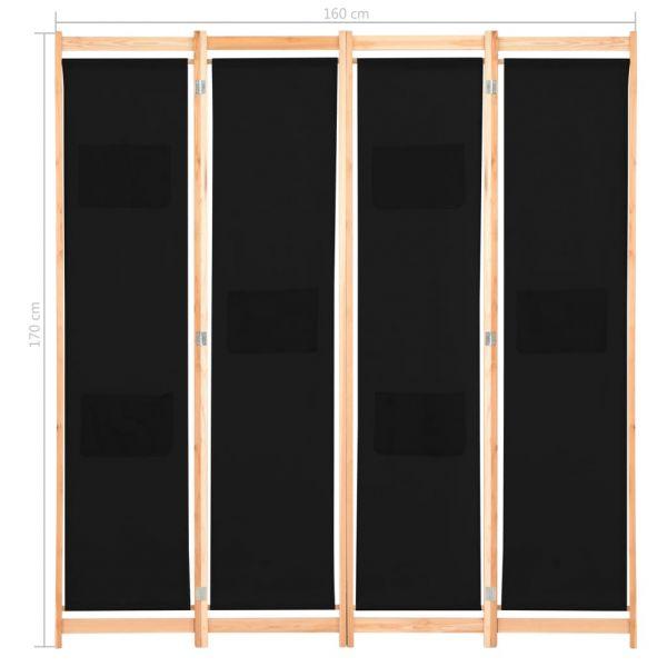 Moderner Vigevano 4-teiliger Raumteiler Schwarz 160 x 170 x 4 cm Stoff