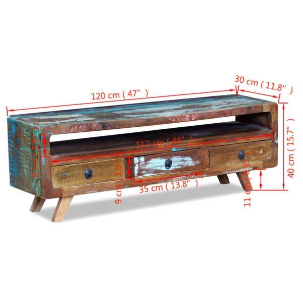 Traumhafte Moedling TV-Schrank mit 3 Schubladen Recyceltes Massivholz