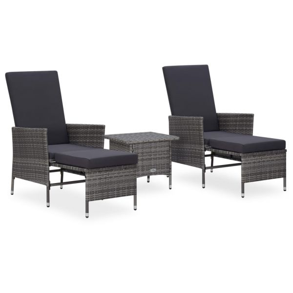 Erstklassige 3-tlg. Garten-Lounge-Set mit Auflagen Poly Rattan Grau Tecamac