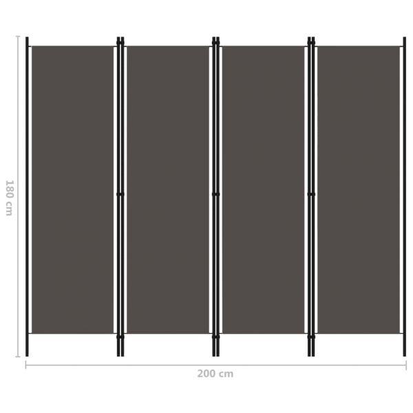 Traumhafte Merano 4-tlg. Raumteiler Anthrazit 200x180 cm