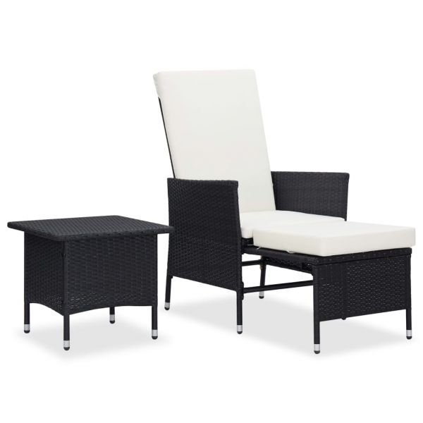 Herrliche 2-tlg. Garten-Lounge-Set mit Auflagen Poly Rattan Schwarz Texcoco