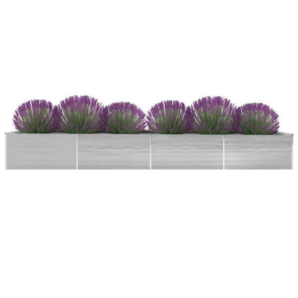 Auffällige Garten-Hochbeet Verzinkter Stahl 600x80x45 cm Grau Pottsville