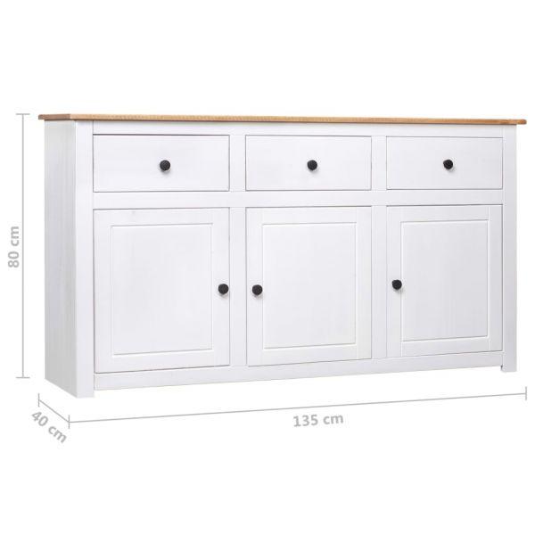klassische Weston-super-Mare Sideboard Weiß 135 x 40 x 80 cm Massivholz Panama-Kiefer