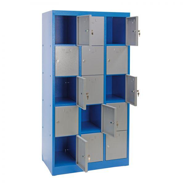 Schließfachschrank / Fächerschrank 15 Fächer blau/grau 88x50x180