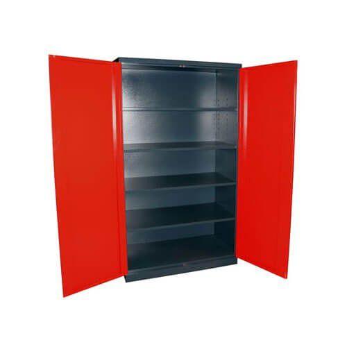 Werkzeugschrank Vollmetall, anthrazit/rot, 4 Fachböden, 110x192x58 cm