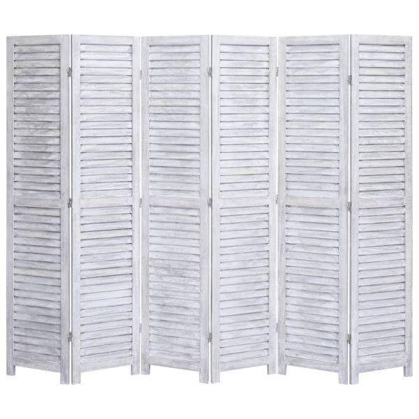 Moderner Biella 6-tlg. Raumteiler Grau 210 x 165 cm Holz