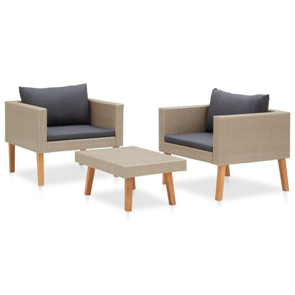 Wundervolle 3-tlg. Garten-Lounge-Set mit Auflagen Poly Rattan Beige Ciudad Santa Catarina