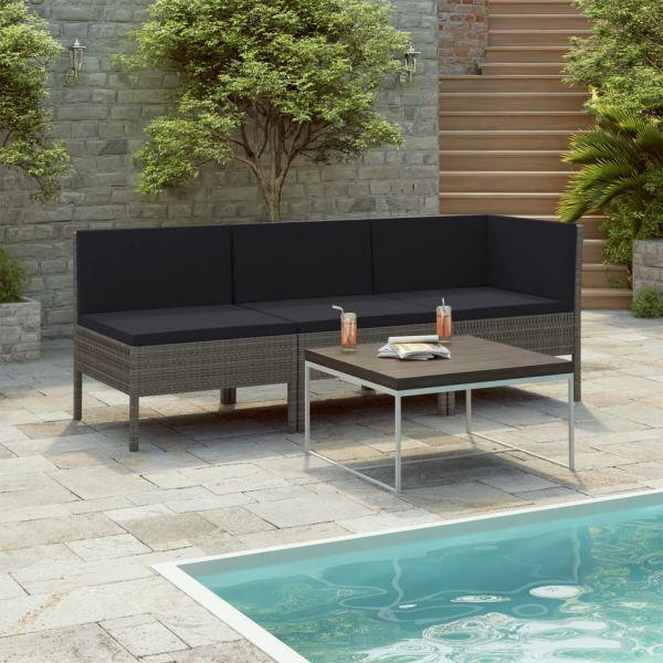 Spitze 3-tlg. Garten-Lounge-Set mit Auflagen Poly Rattan Grau Coacalco