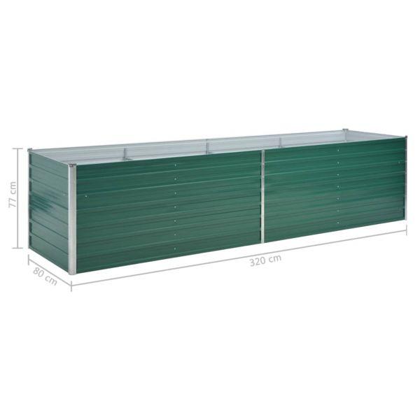 Eindrucksvolle Garten-Hochbeet Verzinkter Stahl 320x80x77 cm Grün Ayr