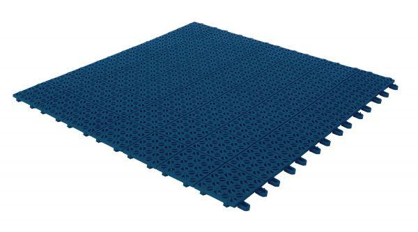 Flexible Kunststofffliesen 55,5 x 55,5 cm für Außen und Garten. Entleeren und selbstsichernde blaue