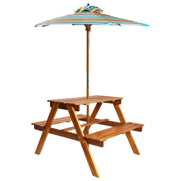 Reizende Kinder-Picknicktisch Sonnenschirm 79x90x60cm Massivholz Akazie Dubňany