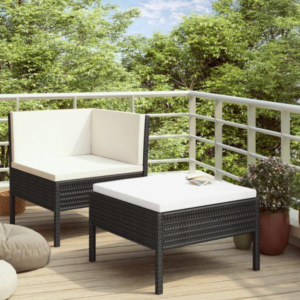 Ausgezeichnete 2-tlg. Garten-Lounge-Set mit Auflagen Poly Rattan Schwarz Tehuacan