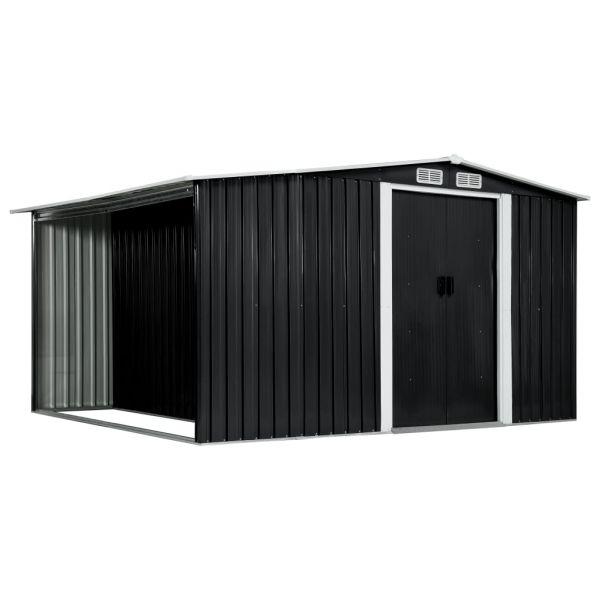 Gerätehaus mit Schiebetüren Anthrazit 329,5 x 259 x 178 cm Stahl Cardenas