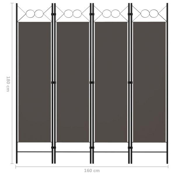 Dekorative Caivano 4-tlg. Raumteiler Anthrazit 160 x 180 cm